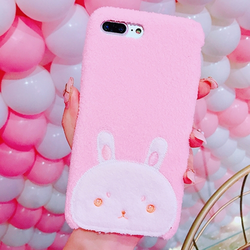 Buy For iPhone 8 Plus & 7 Plus Creative Cute Rabbit Pattern Plush Protective Back Cover Case for $4.46 in SUNSKY store