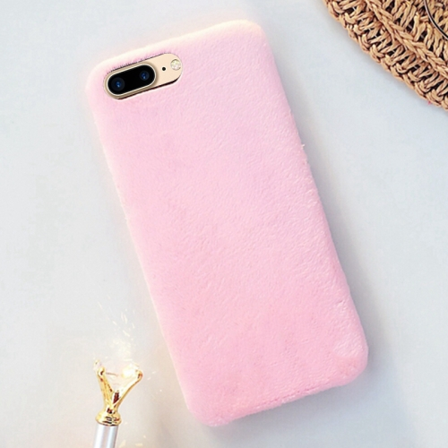 For iPhone 8 Plus & 7 Plus Lovely Warm Plush Solid Color Protective Back Cover Hard Case, Pink