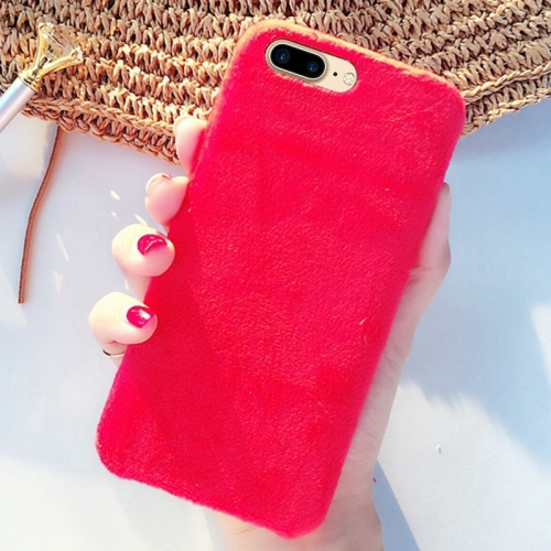 Buy For iPhone 8 Plus & 7 Plus Lovely Warm Plush Solid Color Protective Back Cover Hard Case, Red for $2.29 in SUNSKY store