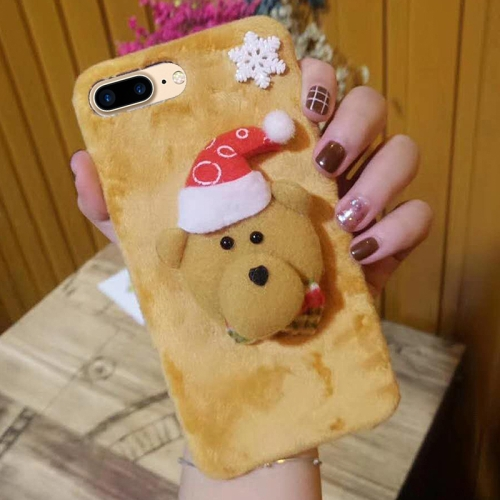 Buy For iPhone 8 Plus & 7 Plus Cute 3D Christmas Bear Pattern Flannel Protective Back Cover Case for $4.71 in SUNSKY store