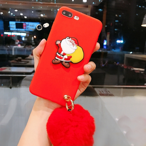 Buy For iPhone 8 Plus & 7 Plus Christmas Series Cartoon Santa Claus Pattern Full Coverage Protective Back Cover Case with Furry Ball Pendant for $4.20 in SUNSKY store