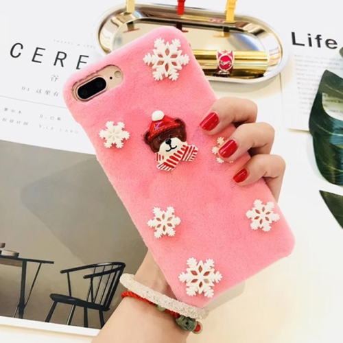 Buy For iPhone 8 Plus & 7 Plus Fashion Cute 3D Snow Christmas Bear Pattern Flannel Protective Back Cover Case, Pink for $4.10 in SUNSKY store