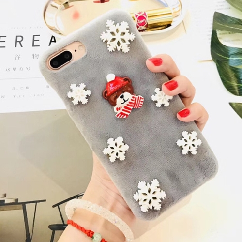 For iPhone 8 Plus & 7 Plus Fashion Cute 3D Snow Christmas Bear Pattern Flannel Protective Back Cover Case, Grey