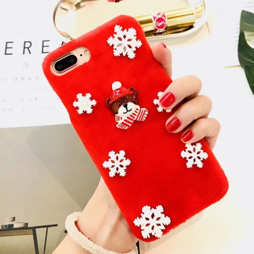 For iPhone 8 Plus & 7 Plus Fashion Cute 3D Snow Christmas Bear Pattern Flannel Protective Back Cover Case, Red