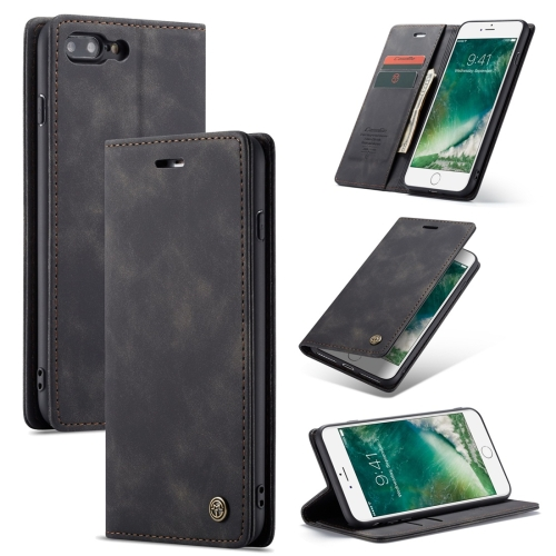CaseMe-013 Multifunctional Retro Frosted Horizontal Flip Leather Case for iPhone 7 Plus / 8 Plus, with Card Slot & Holder & Wallet(Black)