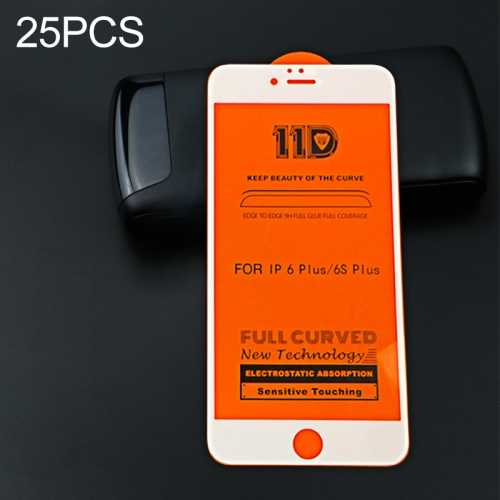 25 PCS mietubl Scratchproof 11D HD Full Glue Full Curved Screen Tempered Glass Film for iPhone 6 Plus / 6s Plus(White)