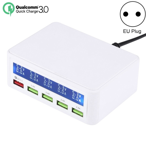 40W QC3.0  2.4A  4-USB Ports Fast Charger Station Travel Desktop Charger Power Adapter with LCD Digital Display, EU Plug