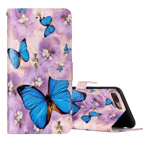 Buy For iPhone 8 Plus & 7 Plus Embossed Purple Butterfly Pattern Elephant Pattern Horizontal Flip Leather Case with Holder & Card Slots & Wallet & Photo Frame for $3.20 in SUNSKY store