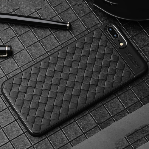 USAMS for iPhone 8 Plus & 7 Plus Weave Style TPU Breathable Soft Protective Back Case(Black) baseus little devil case for iphone 7 black