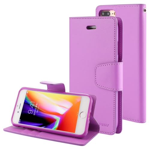 MERCURY GOOSPERY SONATA DIARY for iPhone 8 Plus & 7 Plus Business Style Magnetic Clasp Horizontal Flip Leather Case with Holder & Card Slots & Wallet(Purple)