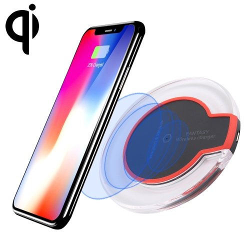 FANTASY 5V 1A Output Qi Standard Ultra-thin Wireless Charger with Charging Indicator, Support QI Standard Phones, For iPhone XR, iPhone XS Max, iPhone X & XS, iPhone 8 & 8 Plus, Galaxy, Huawei, Xiaomi and Other QI Standard Smartphones(Black)