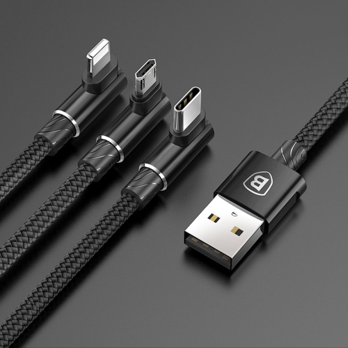 Baseus 1.2m 3.5A Braided 3 in 1 L-type Micro USB + 8 Pin + Type-C Fast Charge Data Syn Cable, For iPhone, Galaxy, Huawei, Xiaomi, LG, HTC and Other Smart Phones(Black)