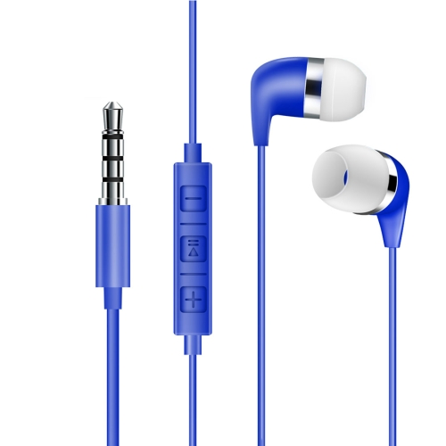 528 Bass Stereo Sound In-ear Wire Control Earphone with Mic, For iPhone, Samsung, Huawei, Xiaomi, HTC and Other Smartphones(Blue)