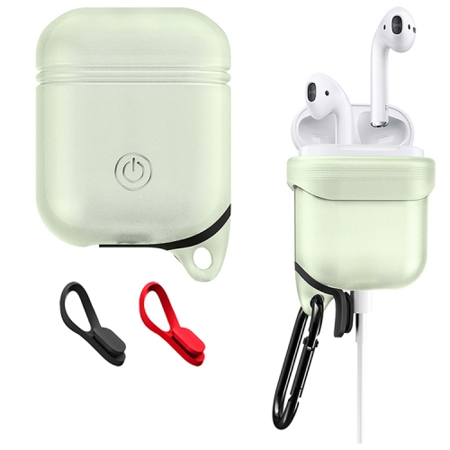 Dropproof Soft Silicone Bluetooth Earphone Protective Cover Skin with Carabiner for Apple AirPods 1/2(Fluorescent Green Light)