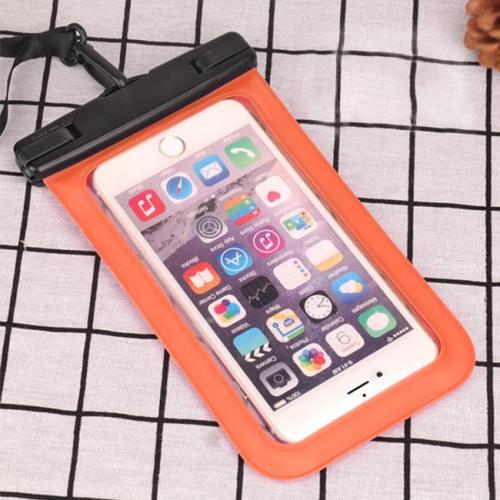 PVC Transparent Universal IPX8 Waterproof Bag with Lanyard for Smart Phones below 6.3 inch (Orange)