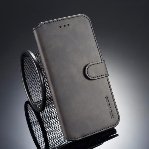 DG.MING Retro Oil Side Horizontal Flip Case for iPhone 8 Plus & 7 Plus, with Holder & Card Slots & Wallet (Black)