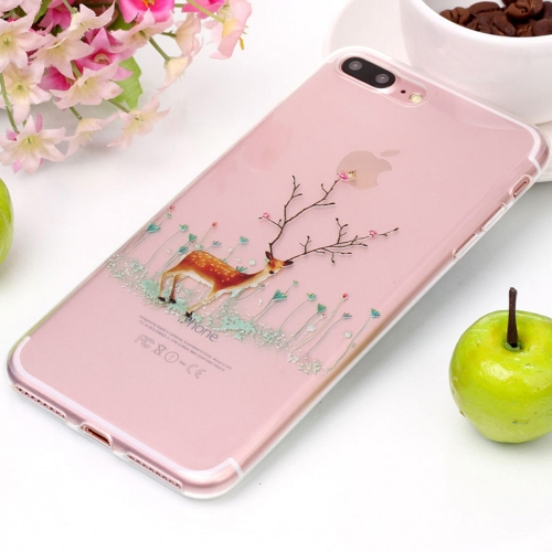 Buy For iPhone 8 Plus & 7 Plus Tree Branch Elk Pattern High Transparency Soft TPU Protective Case for $1.41 in SUNSKY store