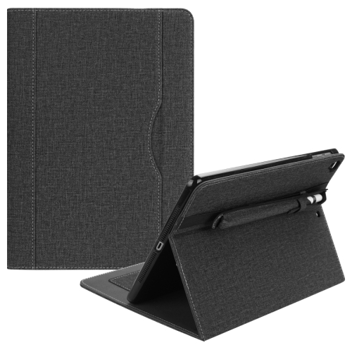Cloth Pattern PU Case for iPad 9.7 inch (2018) & (2017) & (2016) & iPad Air 2 & iPad Air, with Card Slot & Pen Groove(Black)