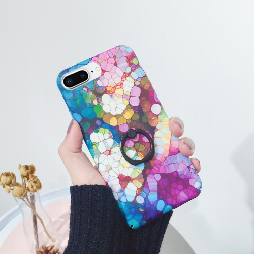 For iPhone 8 Plus & 7 Plus IMD Blue Flower Pattern Protective Back Case with Ring Holder аксессуар чехол rock space ring holder для iphone 7 plus light blue 47574