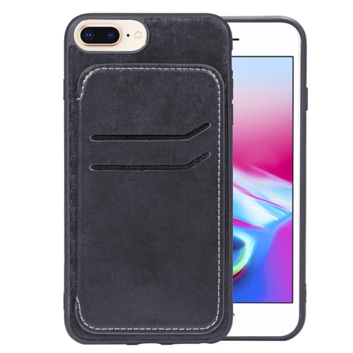 Simple Leather Texture TPU Magnetic Leather Case for iPhone 8 Plus & 7 Plus & 6 Plus, with Holder & Card Slots & Wallet (Black) baseus little devil case for iphone 7 plus black