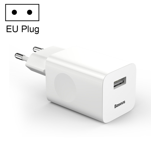 Baseus Single Port 12V/2A Quick Charging Wireless Power Adapter Travel Charger, EU Plug, For iPad, iPhone, Galaxy, Huawei, Xiaomi, LG, HTC and Other Smart Phones, Rechargeable Devices