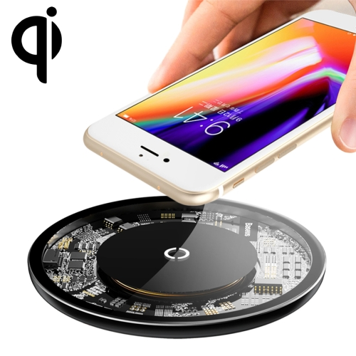 Baseus Simple Round Aluminium Alloy + Glass 10W Max Qi Wireless Charger Pad, For iPhone, Galaxy, Huawei, Xiaomi, LG, HTC and Other Smart Phones (Black)