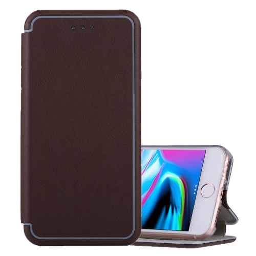 For iPhone 6 Plus & 6s Plus & 7 Plus & 8 Plus Ultra-thin Magnetic Horizontal Flip Shockproof Protective Leather Case with Holder & Card Slot, Brown