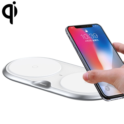 Baseus Zinc Alloy 10W Max Fast Charging Pad Dual Wireless Charger with QC 3.0 Power Adapter, UK Plug, For iPhone, Galaxy, Huawei, Xiaomi, LG, HTC and Other Smart Phones(Silver/UK Plug)