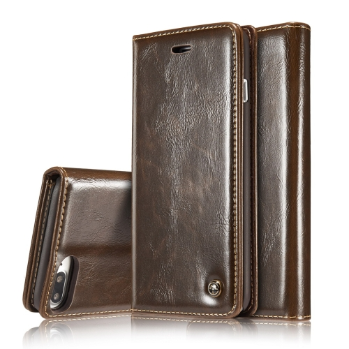 CaseMe-003 for iPhone 8 Plus & 7 Plus PU + PC Business Style Crazy Horse Texture Horizontal Flip Leather Case with Holder & Card Slots & Wallet(Brown)