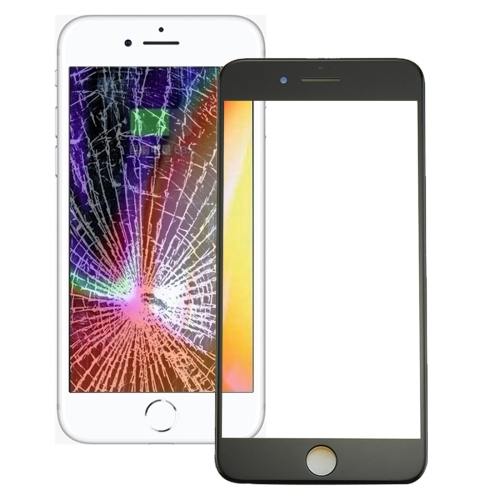 Front Screen Outer Glass Lens with Front LCD Screen Bezel Frame & OCA Optically Clear Adhesive for iPhone 8 Plus(Black)