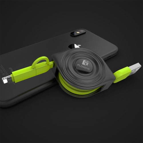 FLOVEME 2 in 1 2.1A 1m Water Wave Style USB to Micro USB & 8 Pin Flexible Data Sync Charging Cable