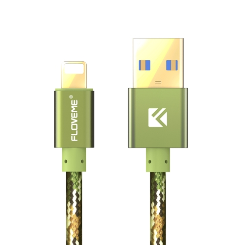 FLOVEME 2.1A 1.2m Nylon Weave Style USB to 8 Pin Data Sync Charging Cable