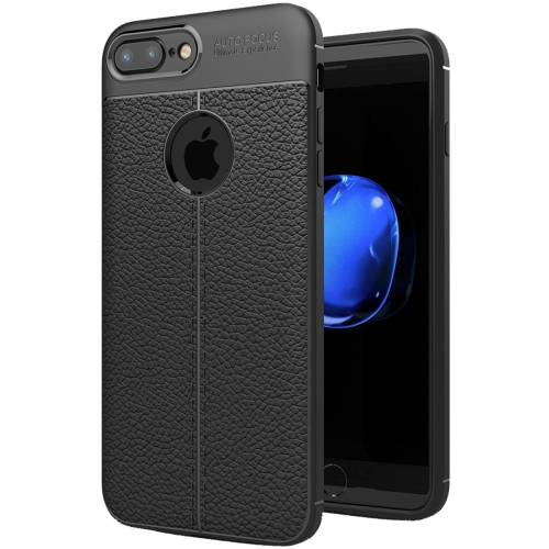 For iPhone 8 Plus & 7 Plus Litchi Texture TPU Protective Back Cover Case (Black)