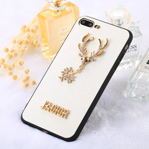 Buy Fevelove for iPhone 8 Plus & 7 Plus 3D Diamond Sika Deer Pattern Soft TPU Protective Case, White for $3.16 in SUNSKY store