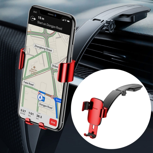 Baseus Metal Age Connecting Rod Type 360 Degrees Rotation Gravity Center Console Car Mount Phone Holder, For iPhone, Galaxy, Huawei, Xiaomi, HTC, Sony and Other Smartphones Between 4.0-6.0 inches(Red) cduk25 50d smc type double acting non rotating rod type bore 25mm stroke 50mm free mount cylinder single rod cuk25 50d
