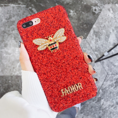 Buy For iPhone 8 Plus & 7 Plus Glitter Powder Diamond Bee Style Protective Back Cover, Red for $3.96 in SUNSKY store