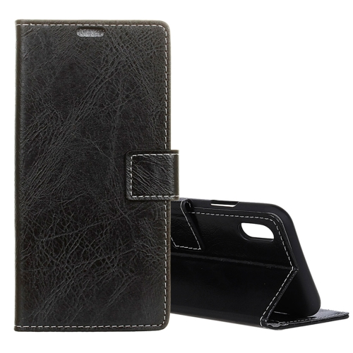 Retro Crazy Horse Texture Horizontal Flip Leather Case for iPhone 9, with Holder & Card Slots & Photo Frame (Black)