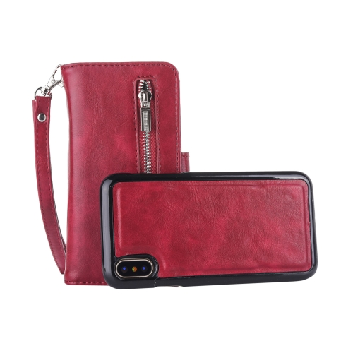 2 in 1 Zipper Pattern PU+ TPU Leather Case with Card Slot & Wallet & Photo Frame  For    iPhone X / XS   (Dark Red)
