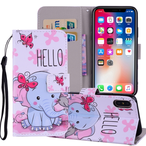 Butterfly Elephant Pattern Colored Drawing Horizontal Flip Leather Case for iPhone 9, with Holder & Card Slots & Wallet & Lanyard