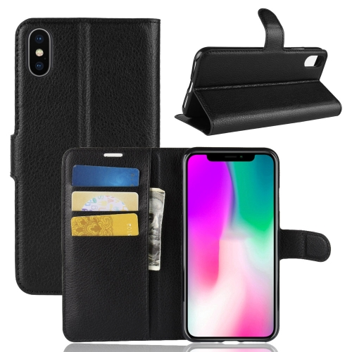 Litchi Texture Horizontal Flip Leather Case for iPhone 9, with Wallet & Holder & Card Slots (Black)