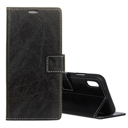 Retro Crazy Horse Texture Horizontal Flip Leather Case for iPhone 9 Plus, with Holder & Card Slots & Photo Frame (Black)
