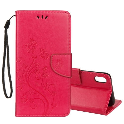 Embossed Butterfly Pattern Horizontal Flip Leather Case with Card Slot & Holder & Wallet & Lanyard For iPhone XS Max (Magenta)