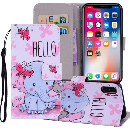 Butterfly Elephant Pattern Colored Drawing Horizontal Flip Leather Case for iPhone 9 Plus, with Holder & Card Slots & Wallet & Lanyard