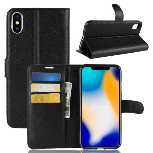 Litchi Texture Horizontal Flip Leather Case for iPhone 9 Plus, with Wallet & Holder & Card Slots (Black)
