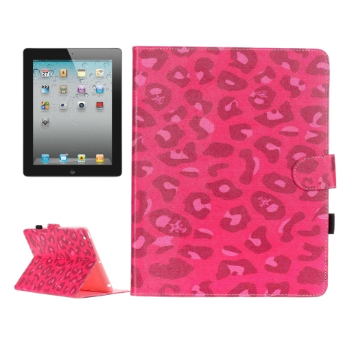 Buy For iPad 4 / iPad 3 (New iPad) / iPad 2 Magenta Leopard Pattern Horizontal Flip Leather Case with Holder & Card Slots & Wallet for $5.64 in SUNSKY store