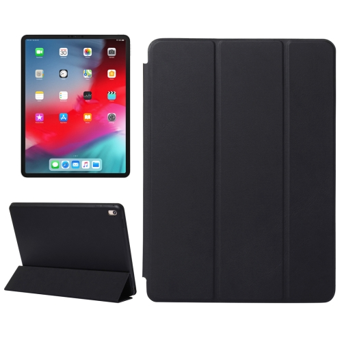 Horizontal Flip Solid Color Leather Case for iPad Pro 11 inch (2018), with Three-folding Holder & Wake-up / Sleep Function(Black)