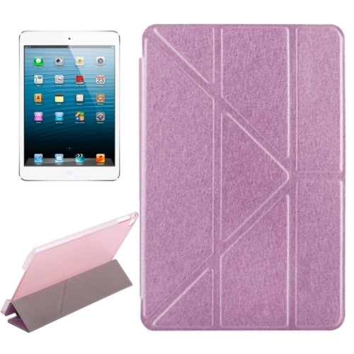 Transformers Style Silk Texture Horizontal Flip Solid Color Leather Case with Holder for iPad Mini 2019(Pink) фото