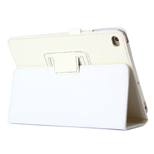Litchi Texture Horizontal Flip PU Leather Protective Case with Holder for iPad Mini 2019 (White)