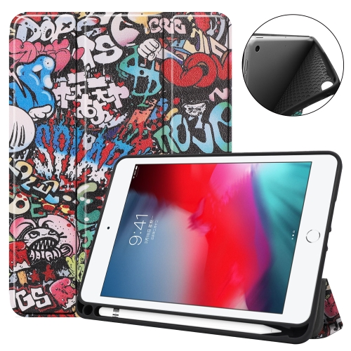 Coloured Drawing Pattern Horizontal Flip Leather Case for iPad Mini 2019, with Three-folding Holder & Sleep / Wake-up Function & Pen Slot