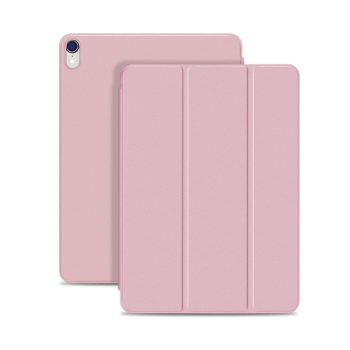 Horizontal Flip Ultra-thin Double-sided Clip Magnetic PU Leather Case for iPad Pro 11 inch (2018), with Three-folding Holder & Sleep / Wake-up Function(Rose Gold) фото